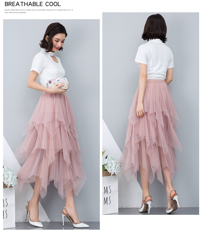 Women irregular Tulle Skirts Fashion Elastic High Waist Mesh Tutu Skirt Pleated Long Skirts Midi Skirt Saias Faldas Jupe Femmle 7