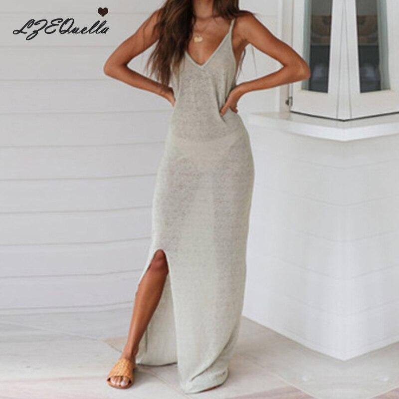 LZEQuella Women Solid Split Long Dress Sleeveless Beach Sexy V Neck Sundress Holiday Party Dresses Vestidos NZ605