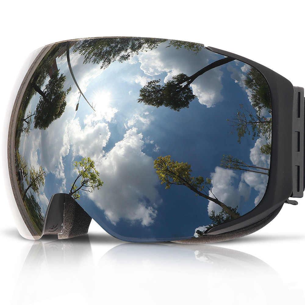 285c49f13b1e ... COPOZZ Магнитная лыжные очки с быстрой смены объектива и чехол Комплект  100% UV400 Защита Анти