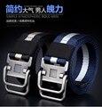 Marca cinturón de bucle Doble hebilla de cinturón de lona hombres y mujeres con un material común cinturón de tela de nylon de alta calidad de ocio