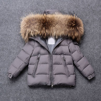 Kid Girl Boy Winter Jacket Clothing Warm Down Big Real Fur Coat Kids Clothes Winter Hooded Jackets for Boy Girl Outerwear