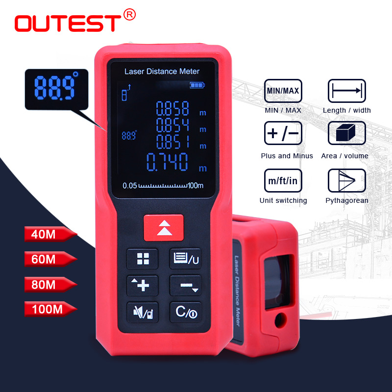 OUTEST Laser distance meter Laser Rangefinder 40M 60M 80M 100M Measurer Tape Trena Digital Distance meter Building Measurement цена