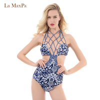2018 Women Sexy Two Pieces Swimwear Printed Tassel Swimsuit Bathing Suit Bandage High Neck Padded Bikini