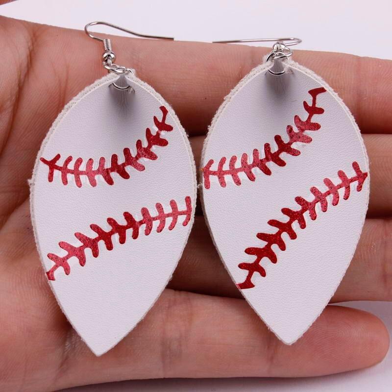 2018 New Leaf Shape Leather Baseball Earrings for Women Fashion Softball Leather Earrings Sports Jewelry Wholesale