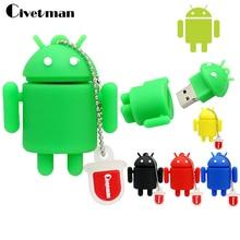 Civetman 100% реальная емкость Флеш накопитель мультфильм милый Android Робот 4 ГБ/8 ГБ/16 ГБ/32 ГБ карту флэш-памяти с интерфейсом usb память флешки подарки