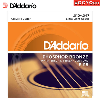 D'Addario EJ15 American Made Phosphor Bronze Acoustic Guitar Strings, Extra Light, 10-47