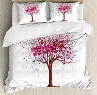 Floral Duvet Cover Set Japanese Cherry Blossom Buds Sakura Tree in Watercolor Beauty Essence Artwork 4 Piece Bedding Set