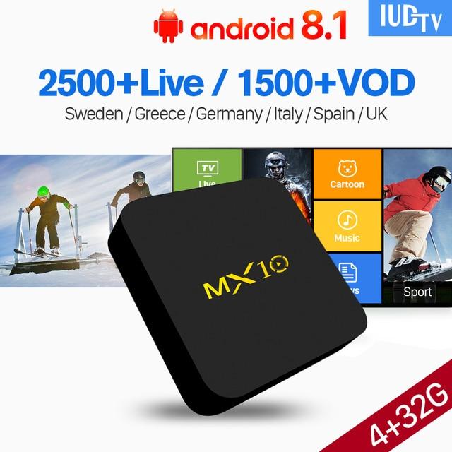 Subscription IPTV 1 Year Android 8.1 TV Box 4GB 32GB RK3328 IUDTV Code IPTV Europe Sweden UK Germany Spain Italy Norway IP TV