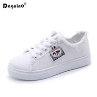 DAGNINO New Spring Summer Canvas Shoes Women Flat Small White Lace Students Casual Walking Shoes Sneakers