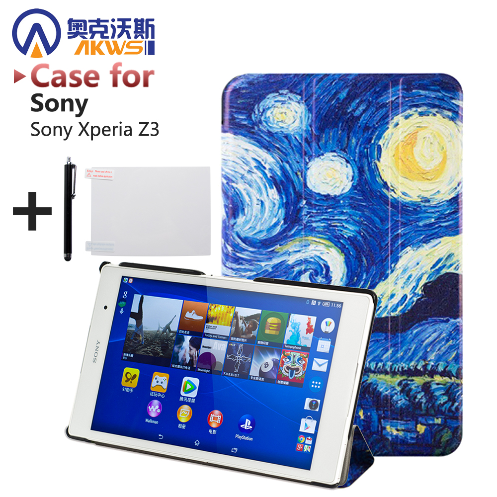цена на For sony z3 compact case Magnetic Smart PU leather Case For Sony Xperia Z3 Compact tablet cover case +screen protectors+stylus