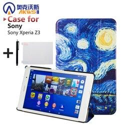 Magnetische Smart fall Für sony Z3 kompakte tablet Fall Für sony Xperia Z3 Kompakte tablet 8 zoll capa kostenloser film stift