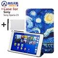 Para sony z3 compacto caja elegante magnética de la pu funda de cuero para sony xperia z3 compact tablet caso de la cubierta + protector de pantalla + stylus