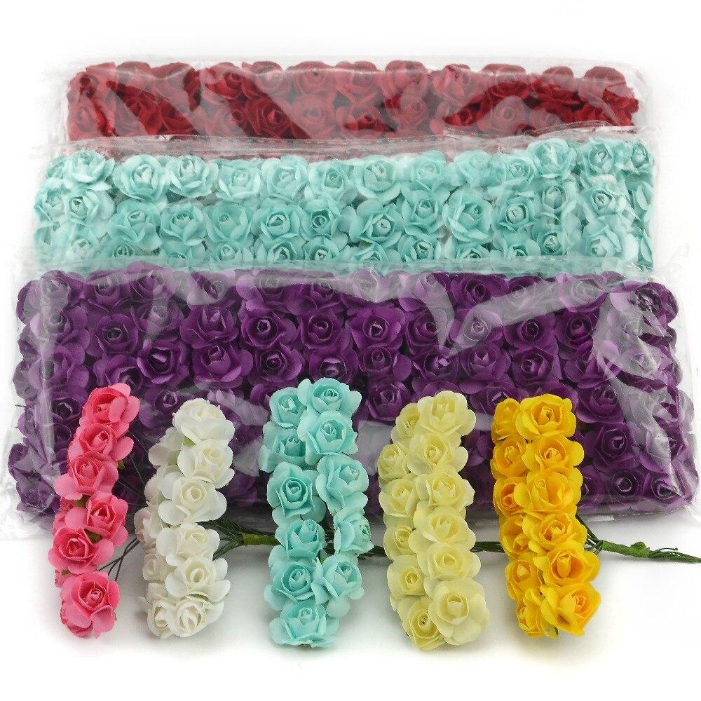 144 шт./лот 1,5 см мини Бумага розы Искусственные цветы руки для Свадебные украшения Скрапбукинг Малый Поддельные букет