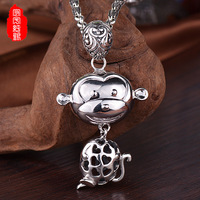 925 Sterling Silver Antique Cute Monkey Pendant Sweater Chain Year Of Fate Wholesale Direct Manufacturers