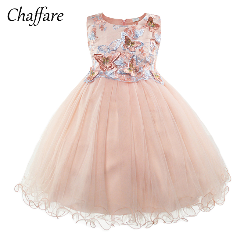 Chaffare Evening Girls Party Dress Kids Butterfly Pageant Dresses Design Girl Wedding Frocks Baby Ball Gown for 2 to 11 Years