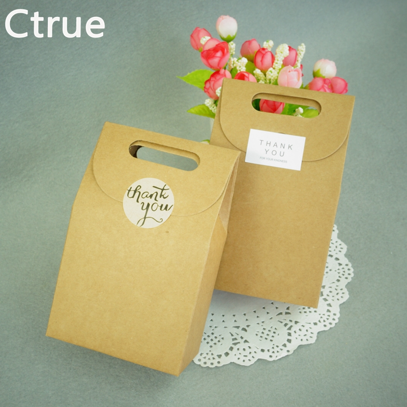Ctrue 20Pcs Kraft Paper Candy Box with thank you tag Sticker wedding favor and Gift for Guests Packaging Boxes wedding souvenirs
