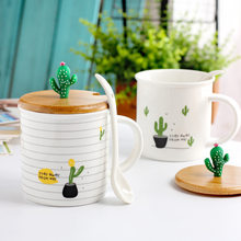 Nordic Style Creative Cactus Ceramic Cups Plants Wooden Covers Spoons Students Household Coffee Milk Mugs 10*9*8.2cm Random(China)