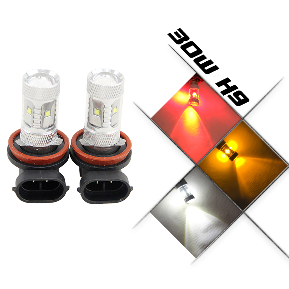 2x 6000K High Power H8 H11 H9 Cree chips LED Fog Driving Headlight Light Lamp Bulb White Car Light Source parking 12V 24V
