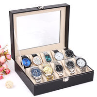 High Quality PU Leather 12 Grid Watch Storage Box Durable Lockable Watches Holder Jewelry Watch Shop Showcase Organizer Boxes