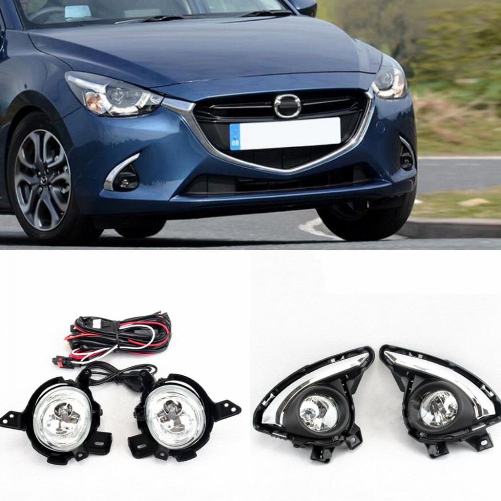 JanDeNing For Clear <font><b>Fog</b></font> light Front <font><b>Lamps</b></font> Full Kit W/ Harness For <font><b>MAZDA</b></font> <font><b>2</b></font> 2015-2017 image