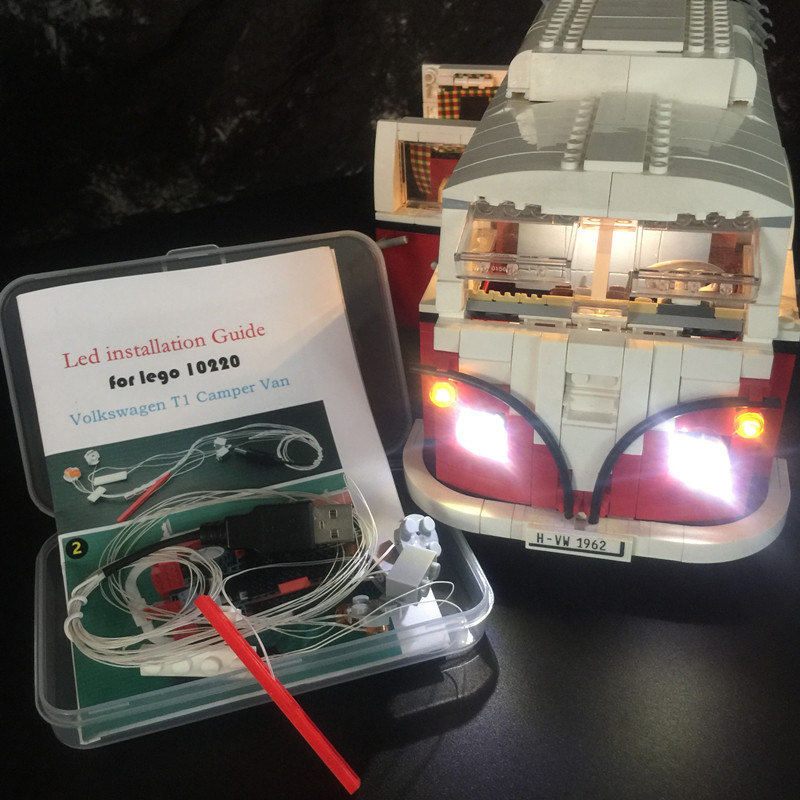 Kit de luz LED para lego/educativos crear la serie Volkswagen T1 Camper Van Compatible con 10220 y 21001