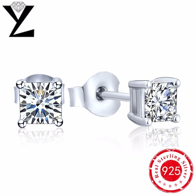 Real 925 Pure Sterling Silver Simulated Diamond CZ Crystal Stud Earrings For Women Girls Men Fashion Jewelry Zircon