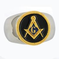 Fanssteel custom made Stainless steel jewelry master Masonic ring square and compass masonic ring MBLR0001