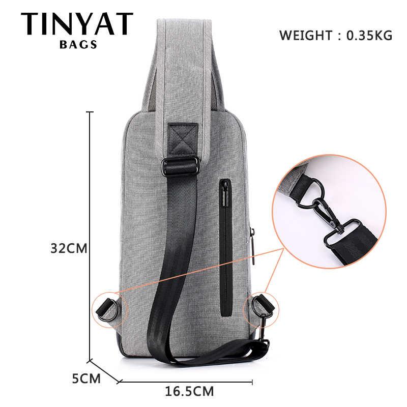 Saco Crossbody dos homens Novo saco peito para teenages TINYAT lona ocasional bolsa de Ombro para 7.9 polegada de couro almofada grande saco do mensageiro