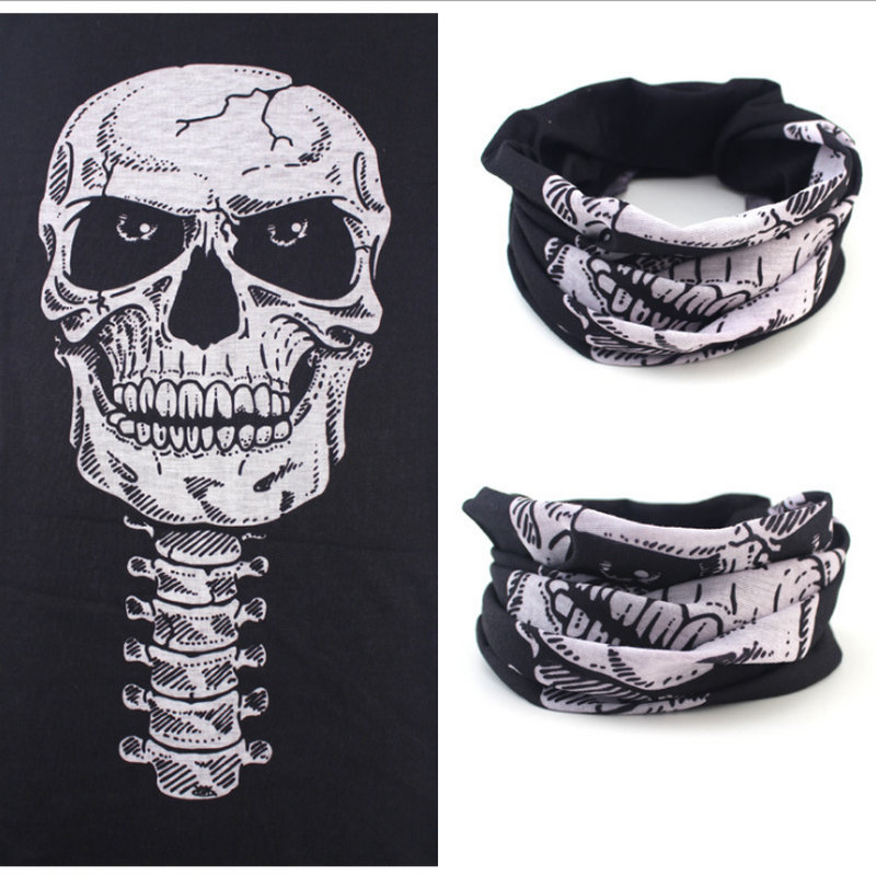 Skull Bandana Headband Bicycle Multi Functional Seamless Tubular Magic Face Mask Tube Ring Scarf
