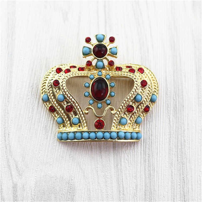 Europa e In America squisita corona spilla pin cappotto cappotto pin resina semi-pietra preziosa spilla