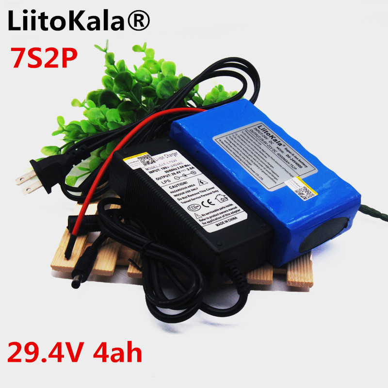 liitokala <font><b>24V</b></font> <font><b>4Ah</b></font> 7S2P 18650 <font><b>battery</b></font> li-ion <font><b>battery</b></font> 29.4V 4000mAh electric bicycle moped / electric + 2A charger image