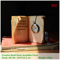 ED Original Quality Design Creative Book Resin Available Clock Fairy Mini Garden Furniture Outdoor Ornament Desk