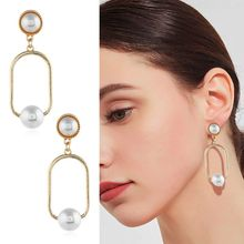 Fashion Simple Hollow Women Earrings Geometric Oval Earring Artificial Pearls Elegant Charm Lady Ear Jewelry