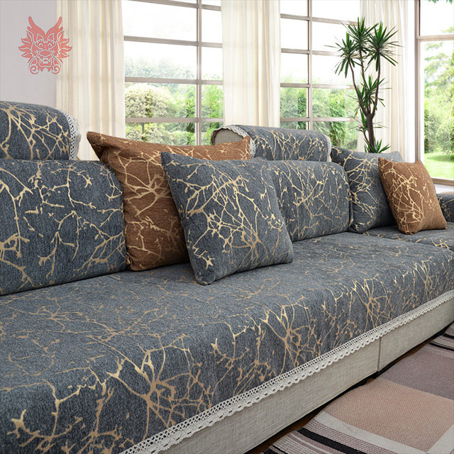 European Style Sky Stripe Jacquard Chenille Sofa Cover Cama Slipcovers For Living Room Furniture Sectional Couch
