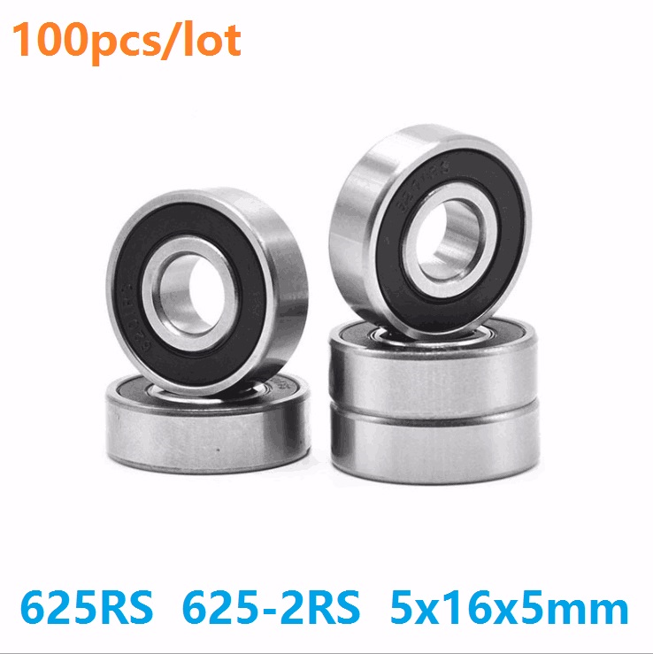 100pcs/lot 625RS <font><b>625</b></font>-2RS <font><b>625</b></font> <font><b>RS</b></font> 2RS Miniature ball <font><b>bearings</b></font> 5*16*5mm Deep Groove Ball <font><b>bearing</b></font> 5x16x5mm image