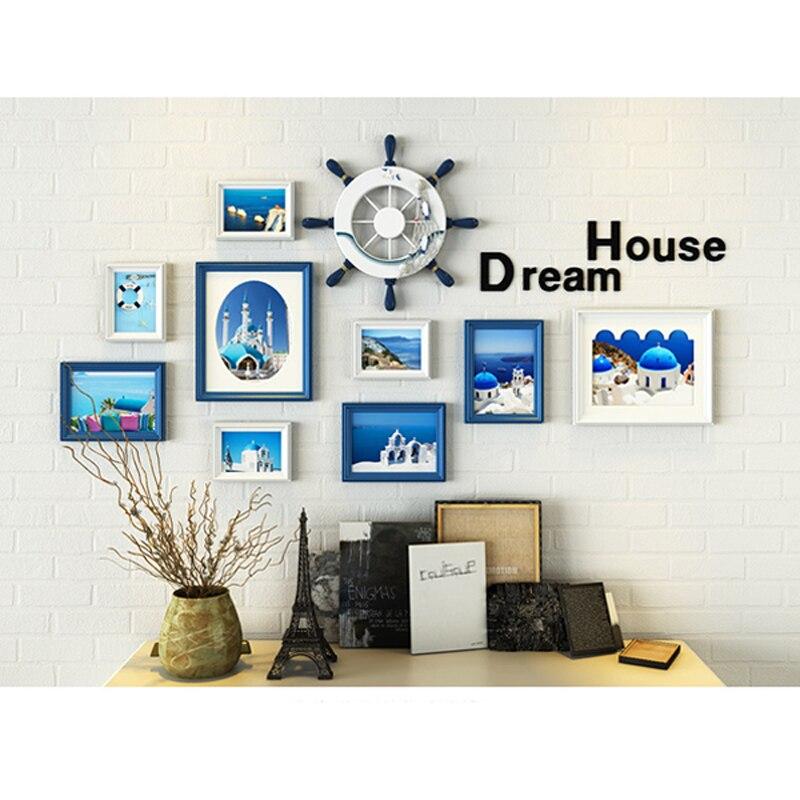 11 teile/los bilderrahmen wand dekoration Europäischen massivholz Mittelmeer fotowand wohnzimmer kreative kombination - 4