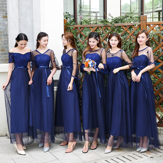 Sweet Memory Summer Champagne pink dark blue Bridesmaid dress 7 Styles and 4  colors in stock Promotional Price SW0050-31 a62c5b9c09d8