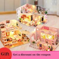 Giocattoli per I Bambini di Casa Casa di Bambola Include Copertura Antipolvere Mobili Fai da Te in Miniatura 3D di Legno Miniaturas Casa Delle Bambole Regali di Compleanno