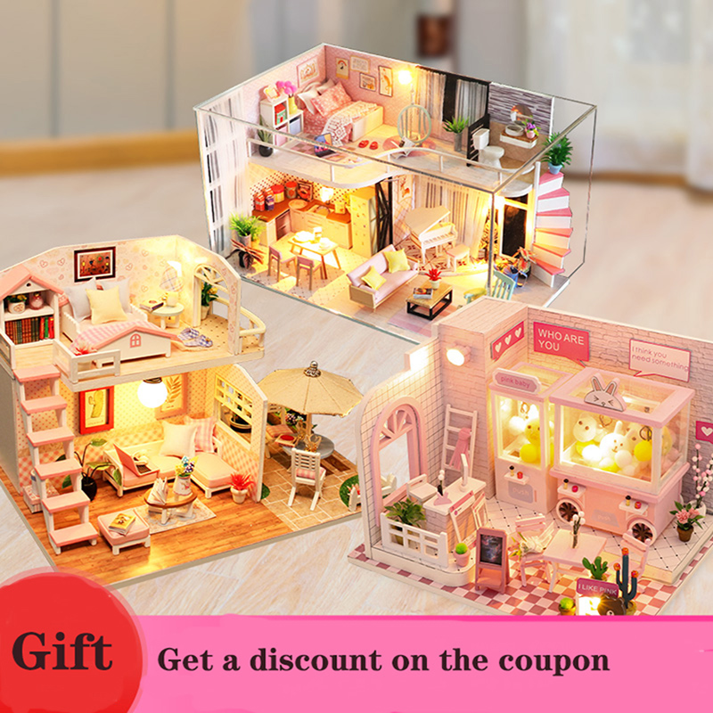 Toys for Children casa Doll House include Dust Cover Furniture Diy Miniature 3D Wooden Miniaturas Dollhouse Birthday Gifts(China)