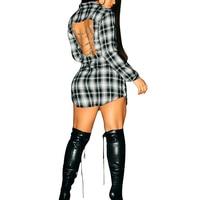 Women Tartan Long Shirts Chain Full Sleeve Plaid Print Shirt V Neck Casual Rock Style Top