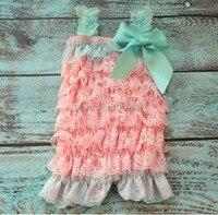 Aqua Pink Lace Petti Romper Petti Lace Romper Newborn Romper Birthday Outfit Photo Flower Girl Baby