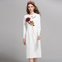 2019 Autumn Women Stereoscopic Sequined Rose Embroidery Runway Dress Famale O neck Long Sleeve Elegant Party Dresses Vestdios