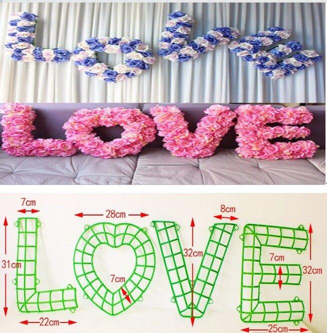 """""""LOVE"""" svatební auto dekorace zdi květinářství plastové DIY květiny rack svatební květiny dodává příslušenství"""