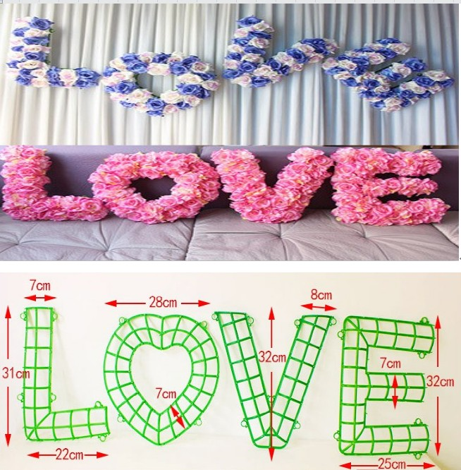 "Wedding Flower Decoration Photos: 2017 "" LOVE"" Wedding Car Decoration Wall Flower Holder"