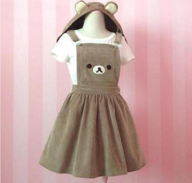 Jolie combinaison Rilakkuma san-x Kawaii Gaun Beruang Bordir Lolita Keseluruhan Rok & chapeau robe femme ou fille
