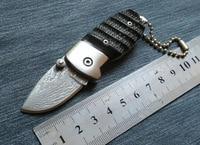 Ox القرن مقبض اليدوية دمشق الصلب سكين للطي سكين جيب دليل المحمولة الطي سكين سكينة مع مفتاح سلسلة