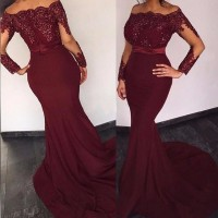 Real Photo 2018 Cheap Chiffon Lace Burgundy Mermaid Bridesmaid Dresses Long Sleeve Appliques Beade Maid Of Honor Gowns plus size
