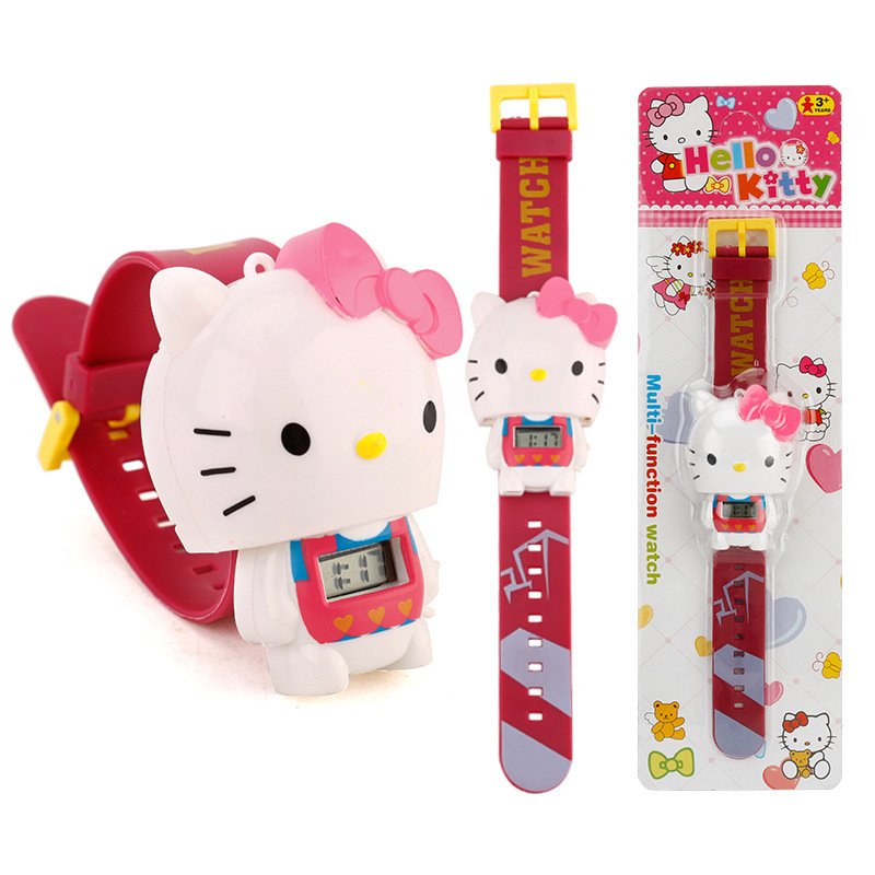 Relogio Infantil 2019 Hello Kitty Children Cartoon Watch Fashion Kids Watch Girl Boy Cute Rubber Leather Electronic Watch Gifts