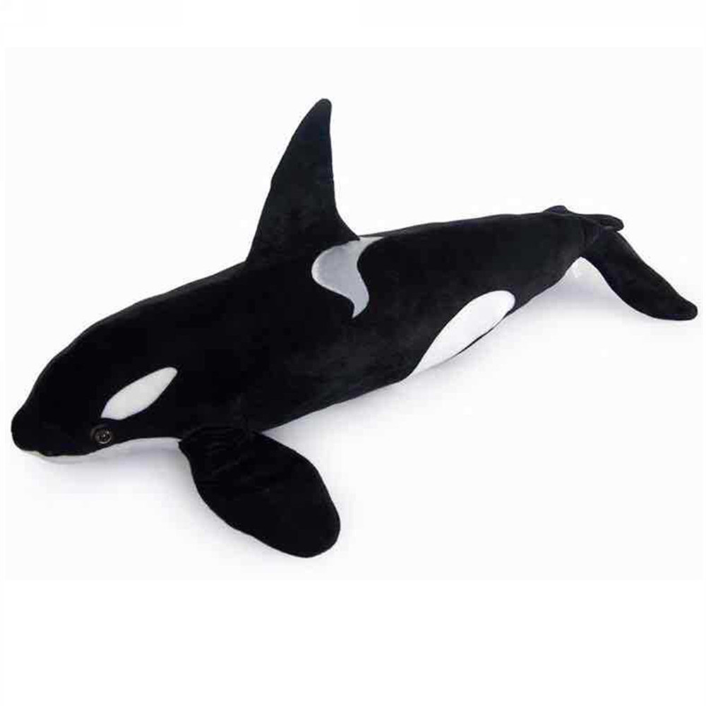 Fancytrader Giant Simulation Animals Killer Whale Plush Toy Big Stuffed Black Shark Doll Pillow Photography Props 130cm mr froger carcharodon megalodon model giant tooth shark sphyrna aquatic creatures wild animals zoo modeling plastic sea lift toy