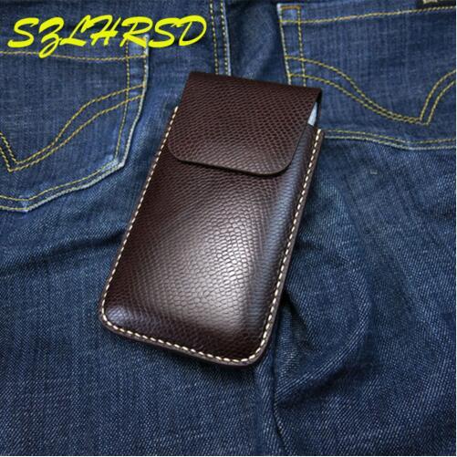 SZLHRSD noir hommes ceinture Clip en cuir véritable pochette taille sac téléphone couverture pour Apple iPhone 9 Plus 8 7 6 s Plus X SE 5 S 4 S étuis - 2